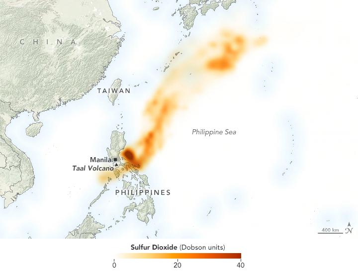 Taal - concentrations en dioxyde de soufre -  détection le 13.01.2020 par  Ozone Mapping Profiler Suite (OMPS) à bord du  NOAA-NASA Suomi-NPP satellite.