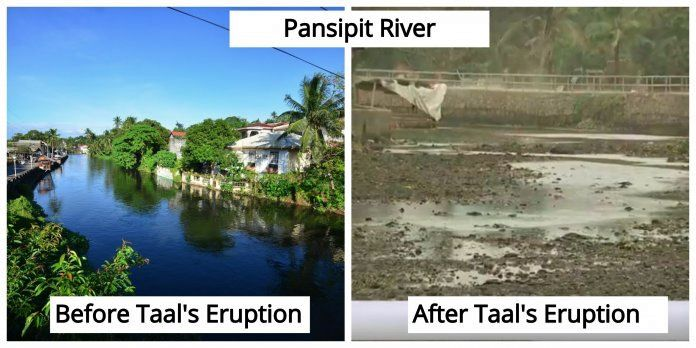 Taal - portions of the Pansipit River (SW of the volcano) have dried up  - photo Twitter