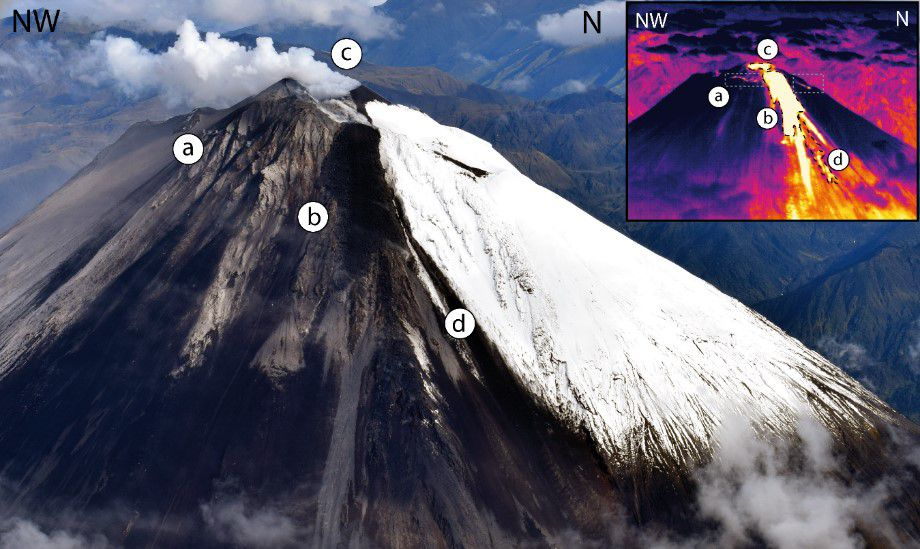 Sangay - 2019.05.19 - a) crack associated with the emission of lava flows by the wind from Domo Ñuñurcu. b) Active lava flow from the dome of Ñuñurcu. c) Central crater d) Pyroclastic flow - Doc. IGEPN / Marco Almeida