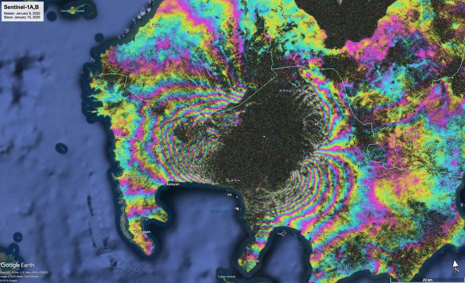 Taal - Sentinel radar interferometry -1 A, B (between January 9 and January 15, 2020) which testifies to the significant deformation of the surroundings and the volcano - the black zone, covered by ash, provided no measurement - doc. Copernicus