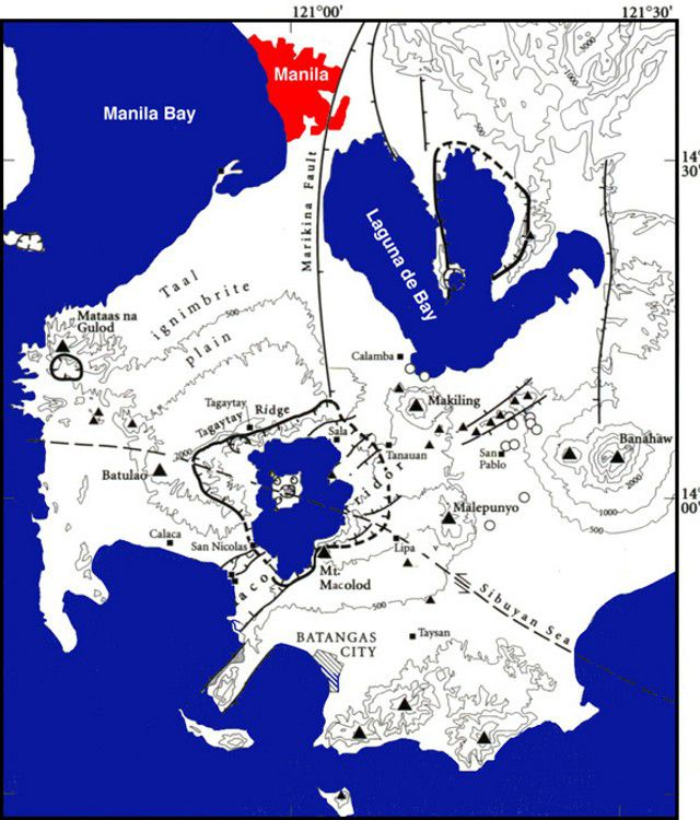 A map showing the Taal caldera and its surroundings. Note that the caldera is at the intersection of major faults and that the topographic margin extends far beyond the margin of the caldera lake. Doc. from NASA Earth Observing System (EOS) Volcanology and their slide set compiled by Peter Mouginis-Mark (University of Hawaii) / GVP