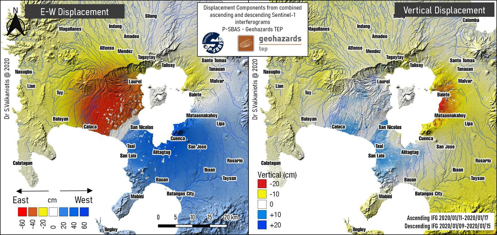 Taal region - Vertical and lateral displacement on 18.01.2020 - Doc. Geohazards TEP / via Sotiris Valkaniotis - one click to enlarge