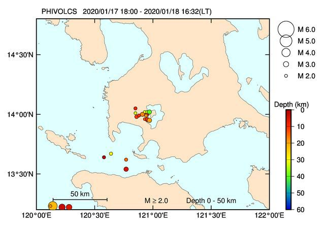 Taal - location and magnitude of earthquakes between 17.01.2020 / 18h loc and 18.01.2020 / 16h32 loc. - Doc. Phivolcs