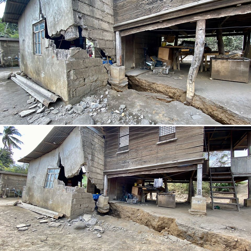 Taal - Lemery's house - the crack is growing - photo 19.01.2020 via Raffy Tima, GMA News