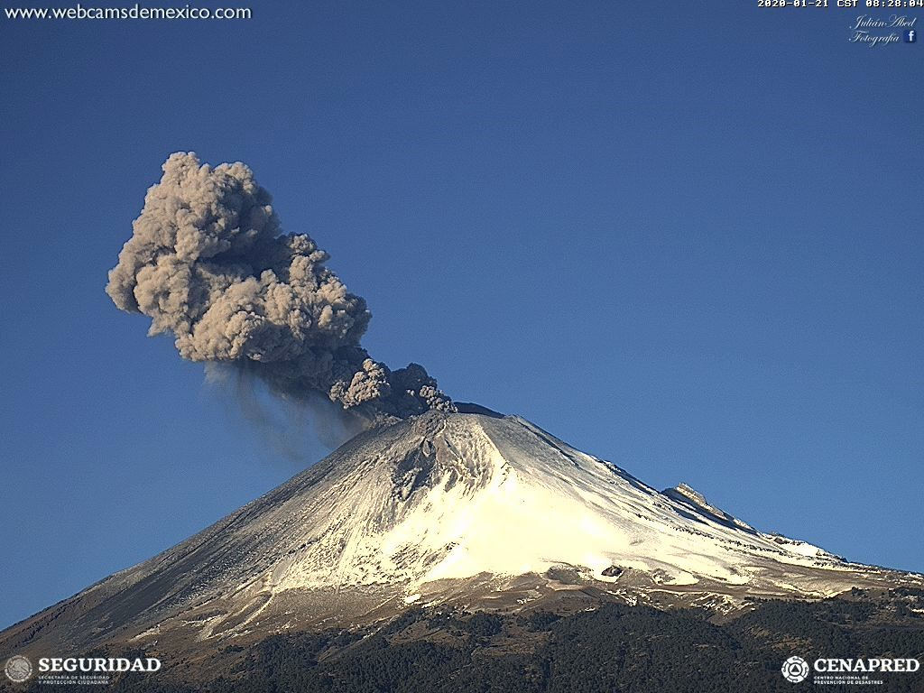 Popocatépetl - one of the many exhalations, the 21.01.2020 / 8h28 - WebcamsdeMexico
