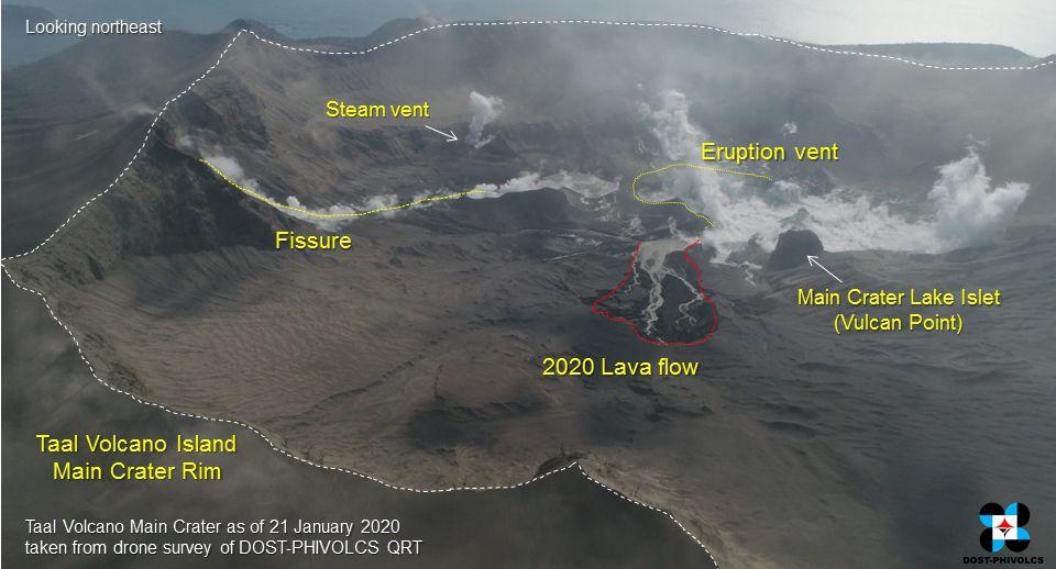 Taal volcano island - photo drone légendée par Phivolcs - 21.01.2020