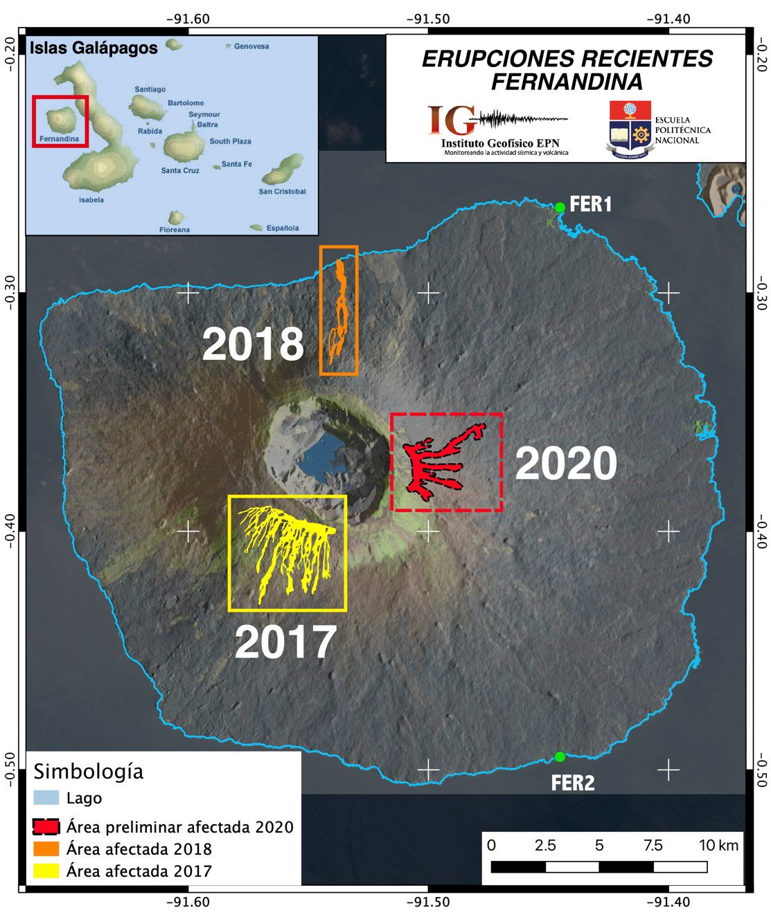The map of the recent eruptions of the Fernandina volcano highlights in red the area previously affected by the lava flows produced on January 12, 2020 (red area), which cover an area of approximately 3.8 km2. Map obtained thanks to InSAR coherence images (processed with ISCE, P. Espín, prepared by FJ. Vásconez).