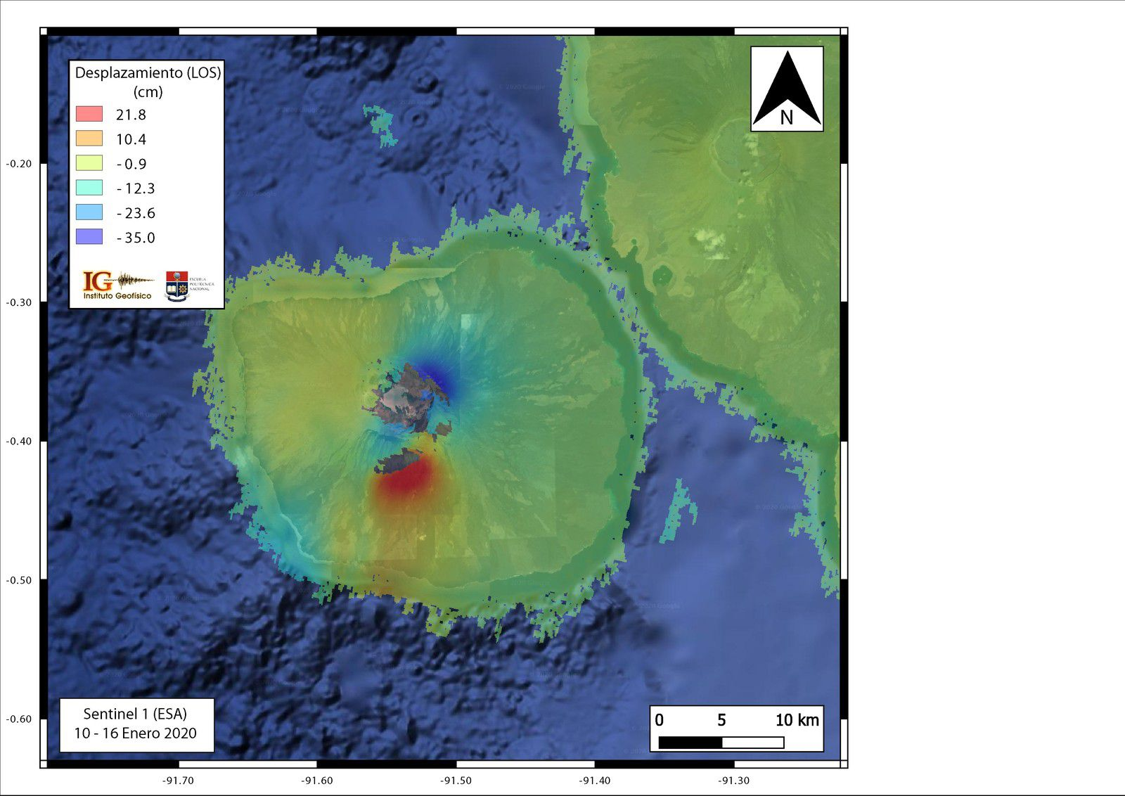 Ground displacement map in the line of sight (LOS) in the Fernandina Island region between January 10 and 16, 2020, showing the deformation that caused the January 12, 2020 eruption. (Treaty with ISCE, P. Espín).