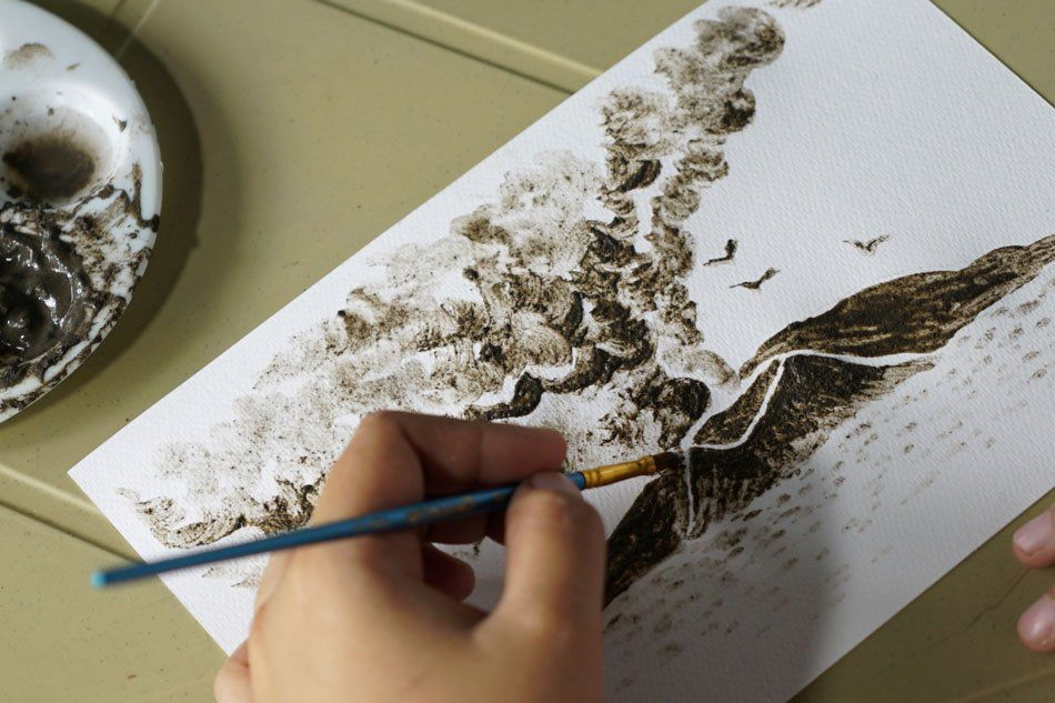 Taal - Watercolor with ash from the volcano by Janina Sanico - photo Facebook page of the artist