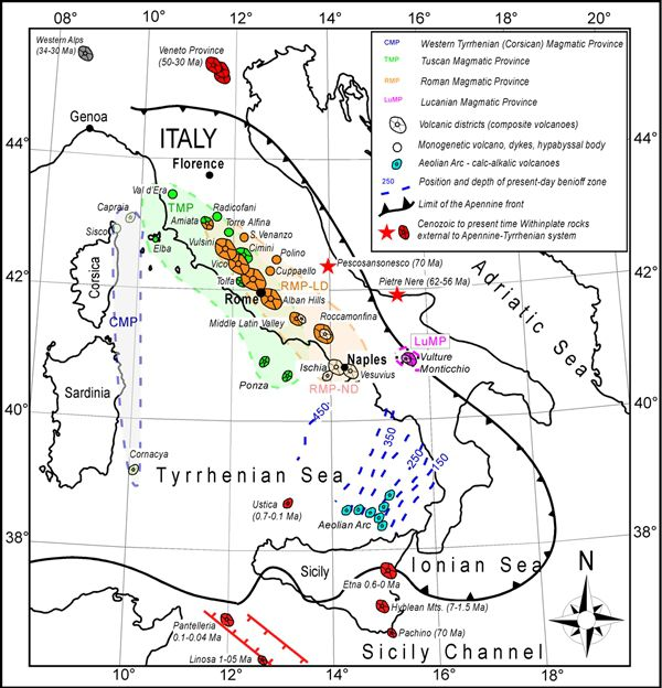 Distribution of ultrapotassic and related volcanic and sub-volcanic rocks in Italy and the surrounding area - (from Conticelli et al., 2007, 2010a, 2011 / Geological field trips - The Vesuvius and the other volcanoes of Central Italy - R. Avanzinelli & al .