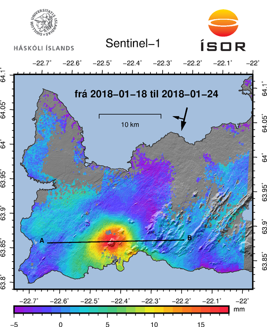 Reykjanes Peninsula / Mt. Thorbjorn (black triangle) - inflation / Sentinel-1 InSAR 18.01-24.01.2020 and seismic swarm - Doc. IMO