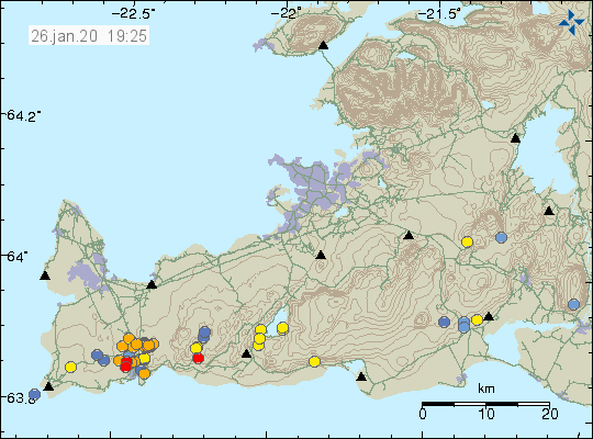 Reykjanes peninsula - location and magnitude of the earthquakes at 26.01.2020 / 19:25 - Doc. IMO