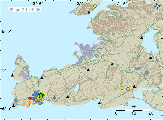 Reykjanes Peninsula - 28 Jan 09:40 GMT - location and magnitude of earthquakes - Doc.IMO