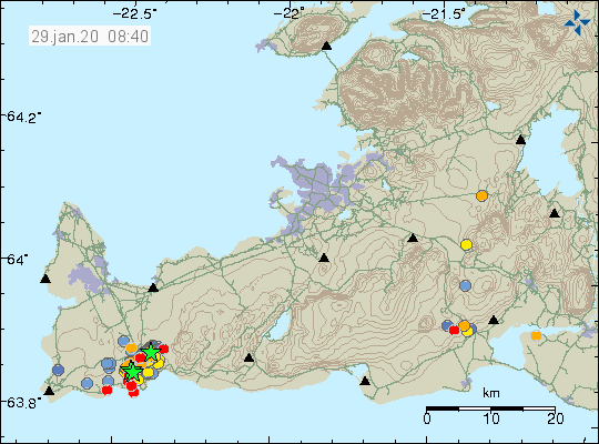 Reykjanes peninsula - location and magnitude of earthquakes at 29.01.2020 / 8:40 am - Doc. IMO
