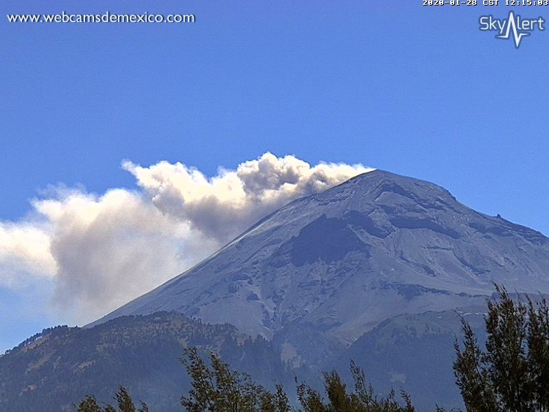 Popocatépetl - gas and steam emissions on 28.01.2020 / 12.15 p.m. - Doc. WebcamsofMexico / SkyAlert