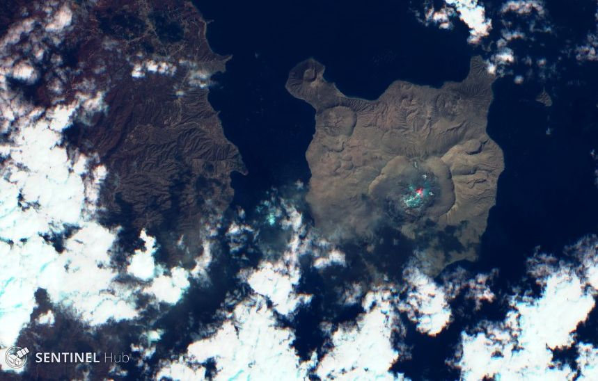 Taal - a hot spot is still visible in the crater - Sentinel-2 L1C image on 2020-01-28 bands 12,4,2 - one click to enlarge