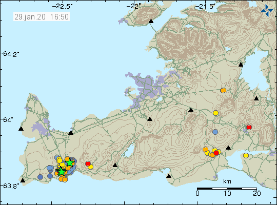 Reykjanes peninsula - location and magnitude of the earthquakes at 29.01.2020 / 4:50 pm - Doc. IMO