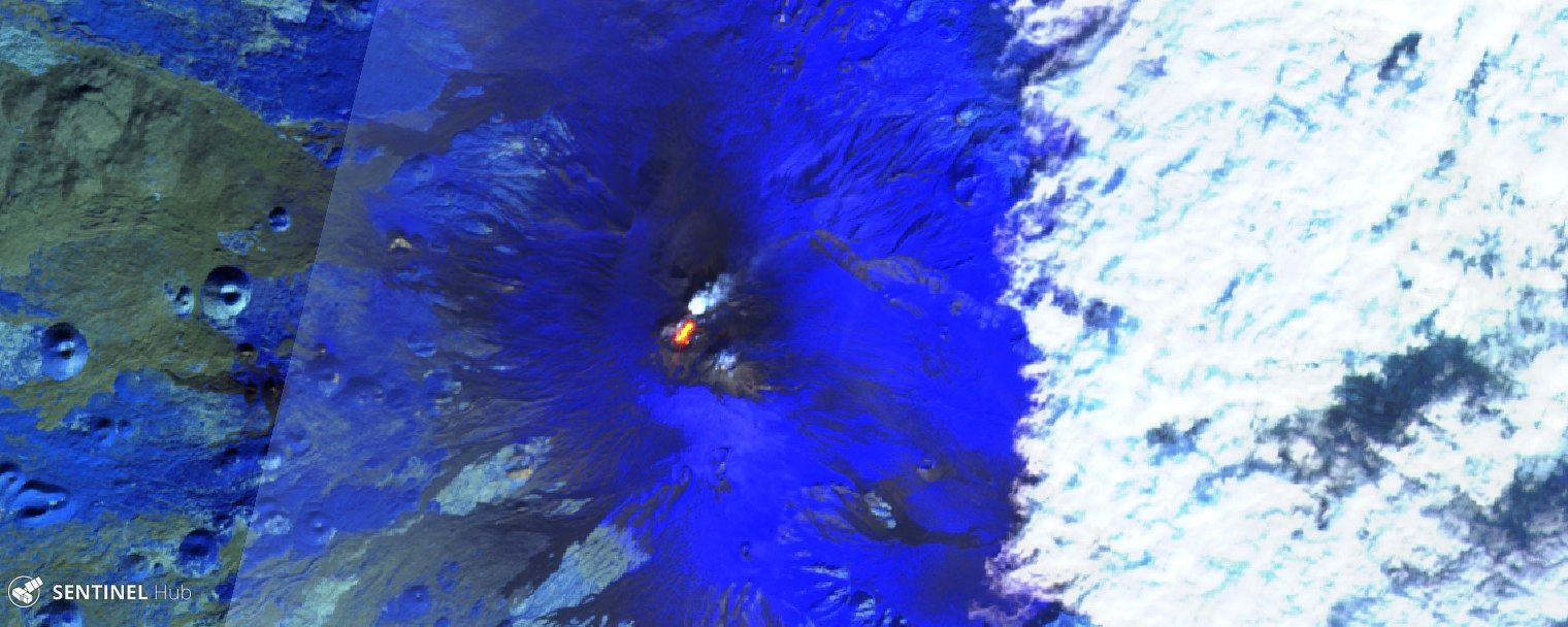 Activity at the various summit craters of Mount Etna on 20.25 and 30.01.2020 (from top to bottom) - Sentinel-2 L1C bands 12,11.8A images - one click to enlarge
