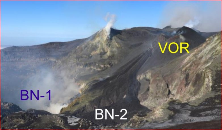 Etna - View from the south-eastern edge of Bocca Nuova towards Voragine (VOR), with the lava flow to BN-2 and the cone in growth (upper right corner) - photo 24,01,2020 / Vincenzo Greco / INGVvulcani
