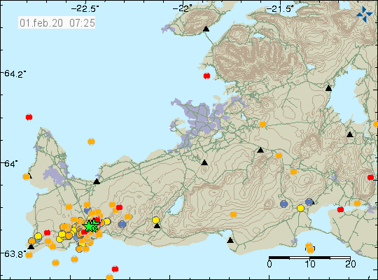 Reykjanes Peninsula - Magnitude of the earthquakes and location on 01.02.2020 / 07:25 - Doc. IMO