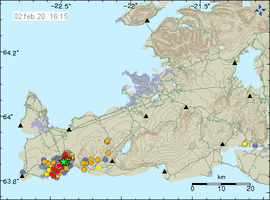 Reykjanes peninsula - location and magnitude of the earthquakes at 02.02.2020 / 4.15 p.m. - Doc. IMO