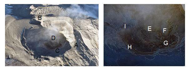 Nevado del Ruiz - Photographies du cratère Arenas de janvier 2020, prises en survol avec le soutien des FAC. On observe: le bord du cratère (A), un cratère secondaire de 150 m de diamètre situé à l'ouest (B), les corniches intérieures (C), le dôme de lave (D), une dépression au centre du dôme causée par un éventuel affaissement et refroidissement de la lave (E), un centre d'émission de gaz et de cendres d'un diamètre d'environ 15 m (cratère secondaire) (F) et plusieurs sources d'émission de gaz situées autour du cratère (G, H e I). - Doc SGC