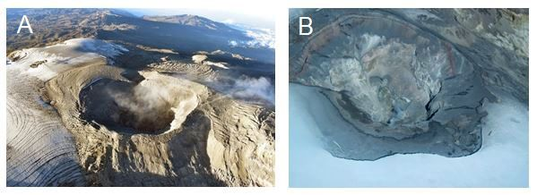 Nevado del Ruiz - from 2020 (A) and 2010 (B), taken in overflight with the support of the Colombian Air Force (FAC). You can observe the Arenas crater, the headwaters of the Azufrado river, the area of the ice cap adjacent to the crater, the deposit of ash, the emission of gas and vapor and the walls of the interior ledges. - Doc. SGC