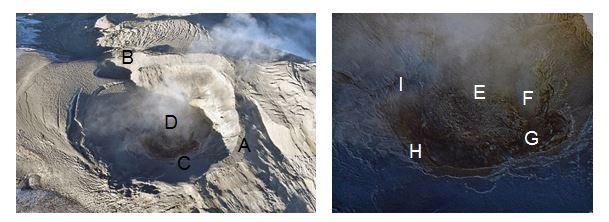 Nevado del Ruiz - Photographs of the Arenas crater from January 2020, taken over with the support of the CAF. We observe: the edge of the crater (A), a secondary crater 150 m in diameter located to the west (B), the interior cornices (C), the lava dome (D), a depression in the center of the dome caused by a possible subsidence and cooling of the lava (E), a gas and ash emission center with a diameter of about 15 m (secondary crater) (F) and several sources of gas emission located around the crater (G, H e I). - Doc SGC