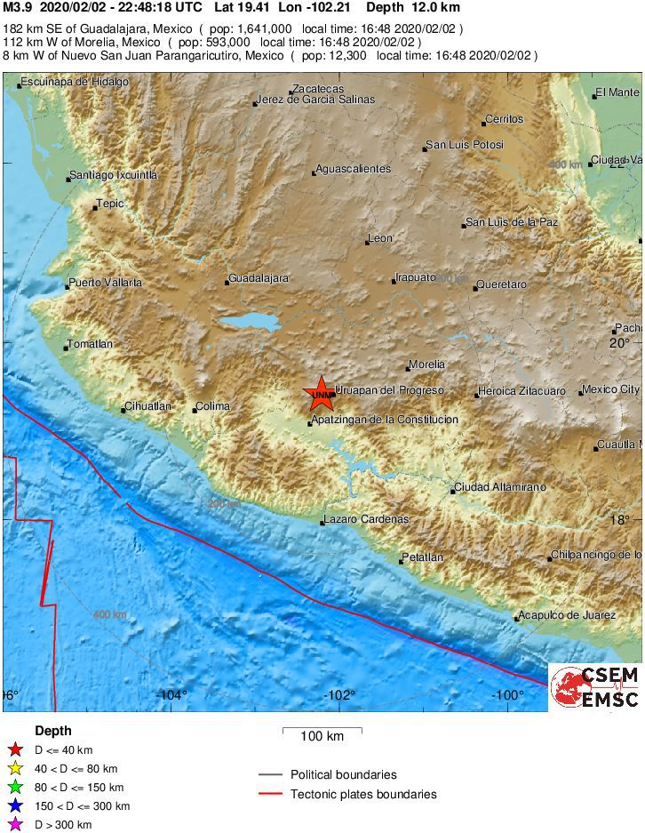 Uruapan / Michoacan - epicenter of the M3.9 earthquake / depth 12 km from 02.02.2020 / 22:48 - Doc. EMSC - EMSC