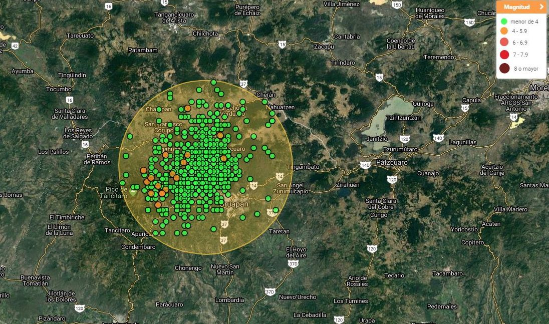 Seismic swarm at Michoacán - Doc. SSN / UNAM on 27.01.2020