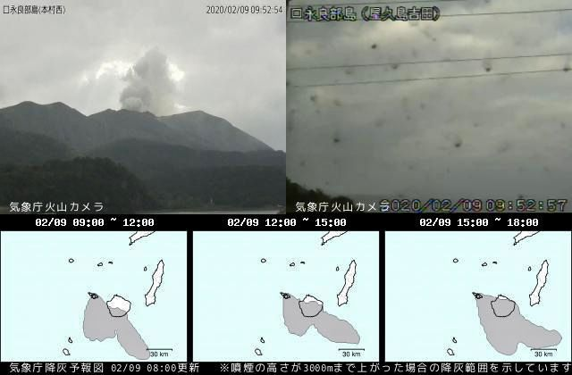 Kuchinoerabujima - 09.020.2020 / 9:52 loc. - JMA webcam