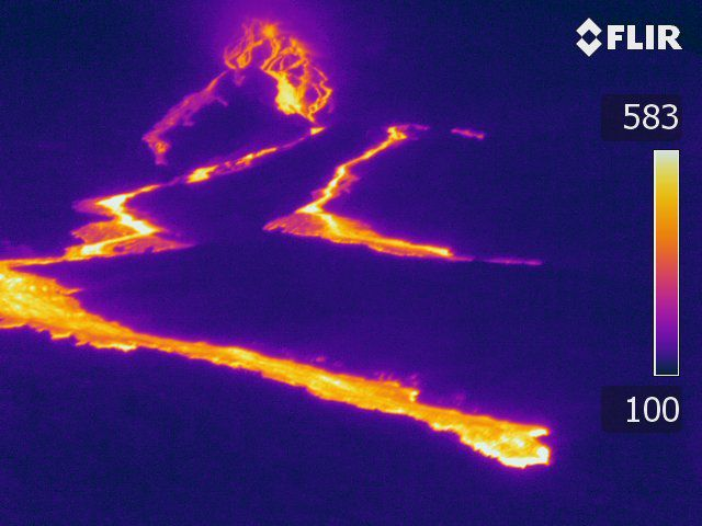 Piton de La Fournaise - 10.02.2020 / 1:15 p.m. local - Aerial shot in thermal imaging of the eruptive site (© OVPF / IPGP)