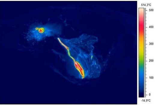 Etna - image thermique du champ de lave produit par l'activité de la Voragine - Doc. INGV OE / L.Lodato survol hélicoptère
