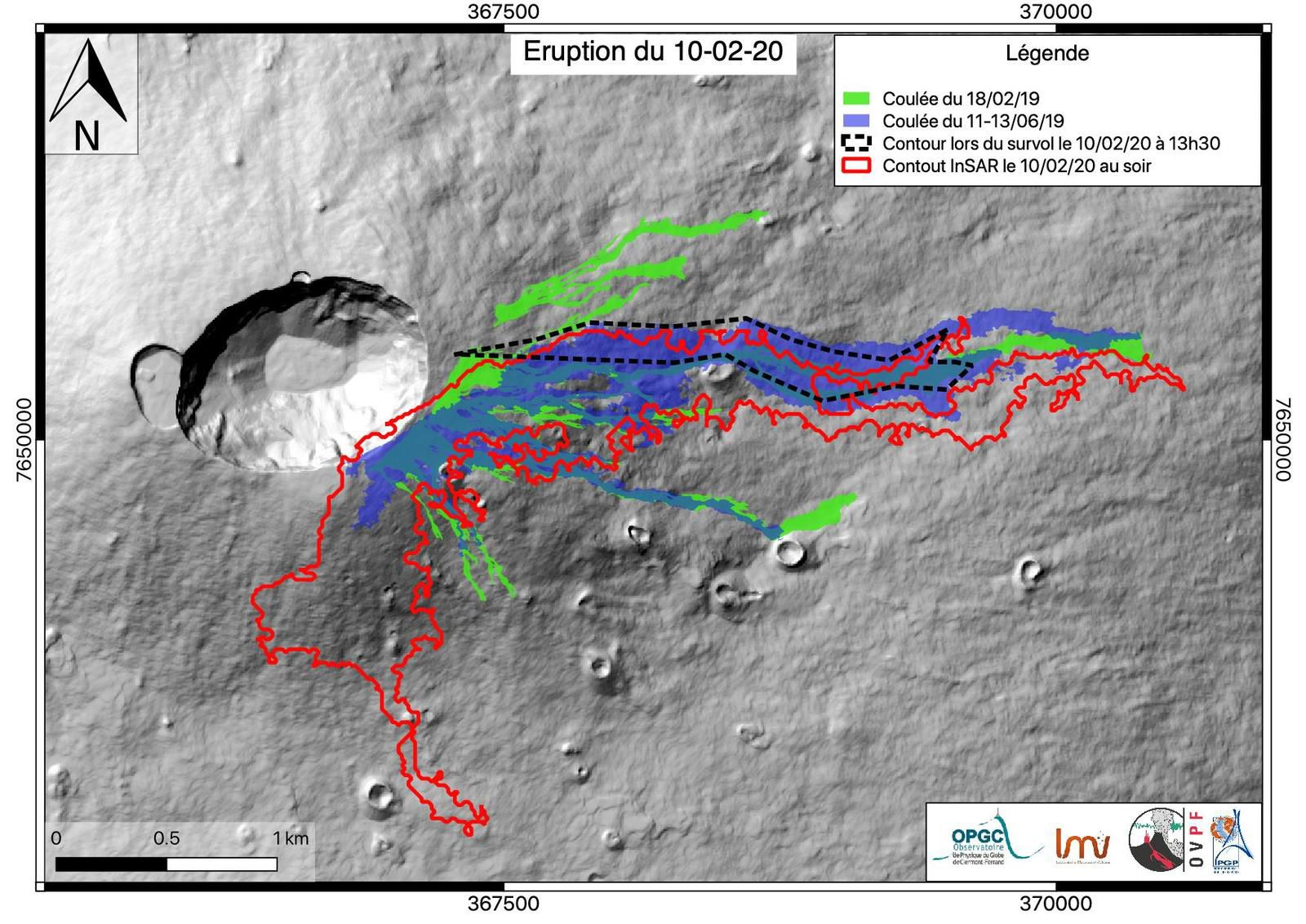 Piton de La Fournaise - last mapping of the eruption flows of 10.02.2020 -Doc. © OPGC / LMV / OVPF / IPGP