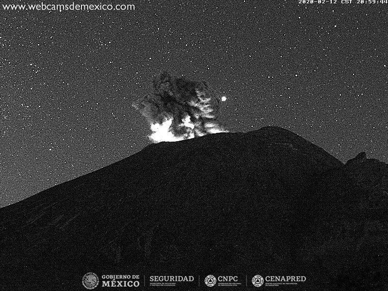 Popocatépetl - 12.02.2020 /  20h59 - Doc. WebcamsdeMexico