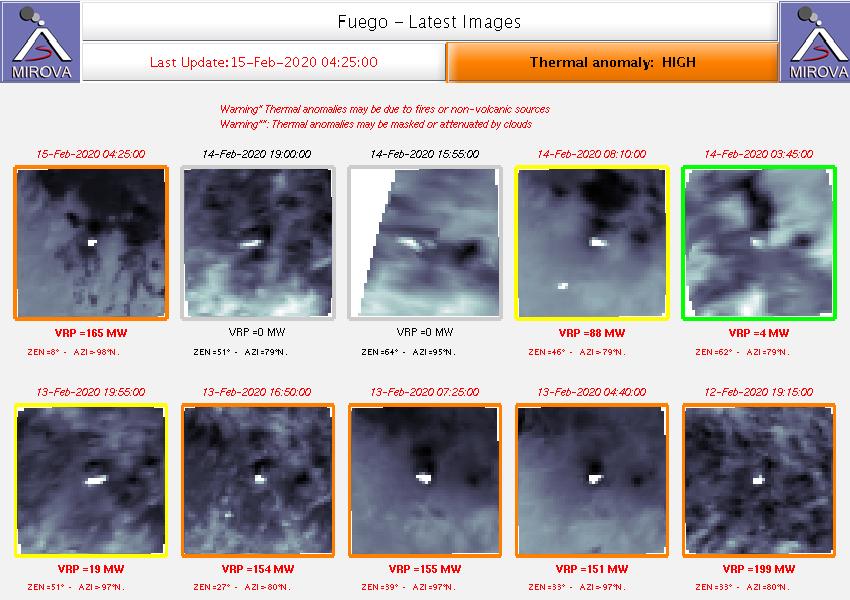 Fuego - anomalies thermiques au 15.02.2020 / 04h25 - Doc.Mirova _MODIS_Latest10NTI