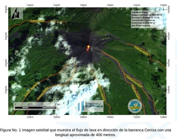 Fuego - lava flow in the direction of Barranca Ceniza for 400 m. - Doc. Insiuvumeh