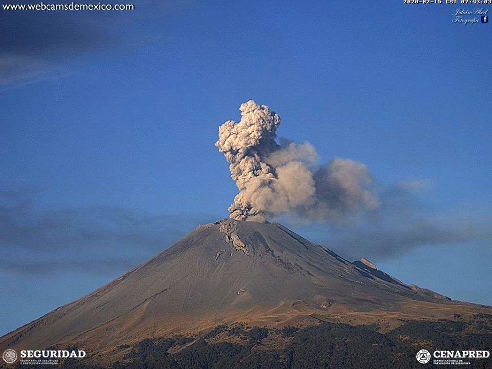 Popocatépetl - 15.02.2020 / 7h43 -Doc. WebcamsdeMexico