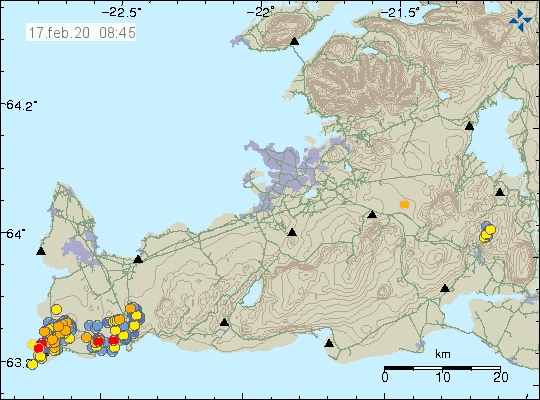 Reykjanes peninsula - location and magnitude of the earthquakes at 17.02.2020 / 8.45 am - Doc. IMO