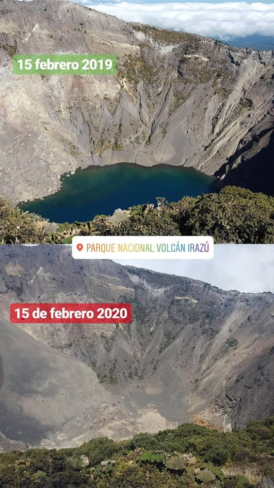 Irazu - variations in level of the crater lake over a year (15.02.2019 - 15.02.2020) - Doc. Parque Nacional Volcan Irazu- SINAC