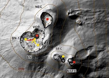 Map of the area of the summit craters (DEM 2014, Laboratory of aerogeophysics - Section Rome 2, mod.). Scalloped black lines = edge of upper craters: BN = Bocca Nuova, inside of which BN-1 and BN-2 are observed; VOR = Voragine; NEC = Northeast Crater; SEC = Southeast Crater; NSEC = New Southeast Crater. Yellow dots = degassing vents. Red dots = mouths with eruptive activity. Red line = active lava flow. Yellow lines = lava flow in cooling. Gray circle = ash cone. - via INGVvulcani