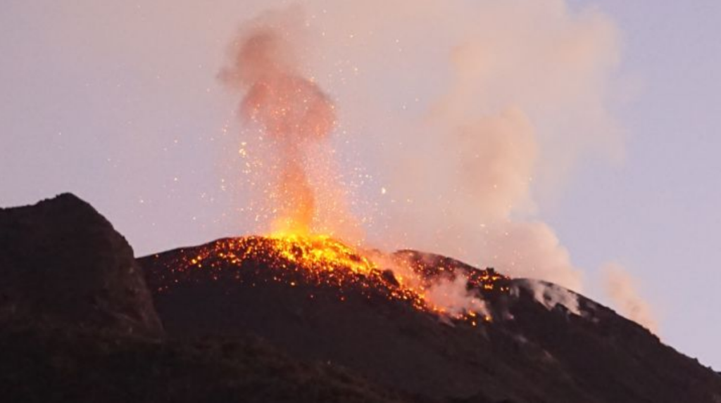 Stromboli - 15.02.2020 - explosion of the North zone taken by drone - Doc. INGV OE