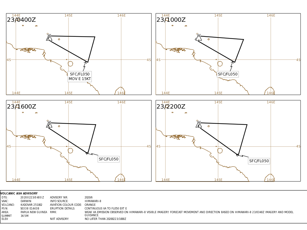 Kadovar - Volcanic ash advisory pour le 23.02.2020 - Doc. VAAAC Darwin IDY65280