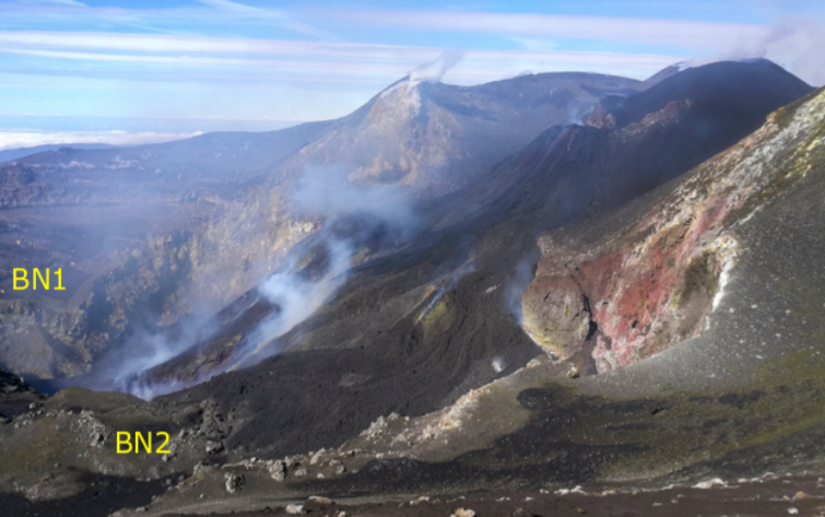 Etna - Taken from the eastern edge of the Bocca Nuova showing the effusive mouth located on the southern flank of the ash cone (black, on the left of the photo) located inside the Voragine on February 19, 2020 (photo F. Ciancitto ). / INGVvulcani