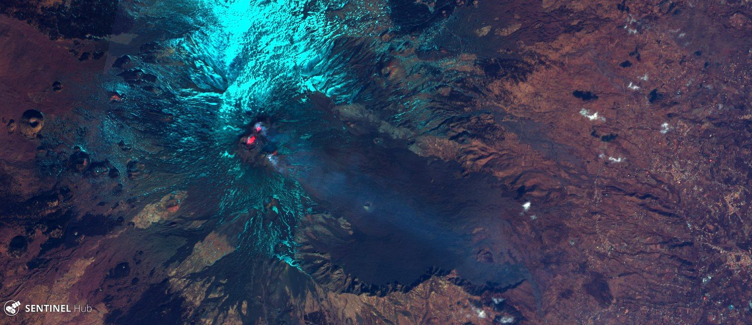 Etna summit craters 19.02.2020 - Sentinel-2 L1C image on 2020-02-19 bands 12,4,2 - one click to enlarge