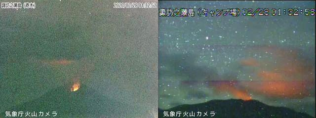 Suwanosejima - 28.02.2020  / 01h32 - webcams JMA