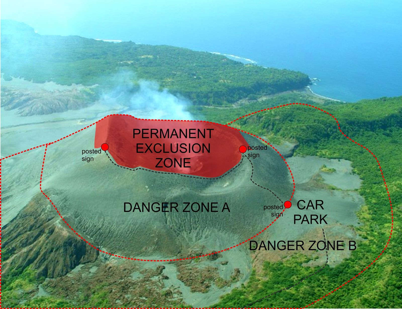 Yasur - map of danger and exclusion zones - Doc. GMVD