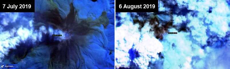 Bagana - plumes from 07.07.2019 and 06.08.2019 - Sentinel-2 bands image 12,11,8A via GVP