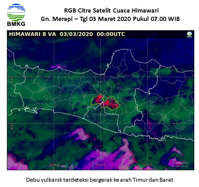 Merapi - ash cloud spotted 03.03.2020 / 07h WIB (circled in yellow) by RGB Citra Himawari