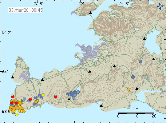Reykjanes peninsula - location and magnitude of earthquakes at 03.03.2020 / 8.45 am - Doc. IMO